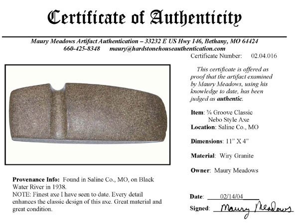certificate of authenicity